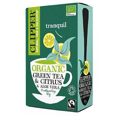 Чай Clipper зеленый с цитрусом и алоэ вера Органик 20 пак