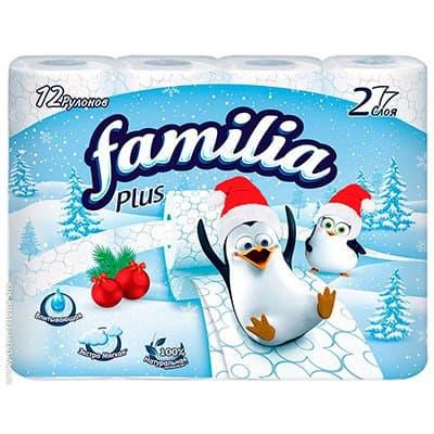 Туалетная бумага HAYAT Familiya Plus белая 2-х слойная (12 шт)