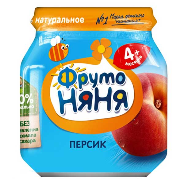 Пюре ФрутоНяня 4+ персик 100 гр 12шт. в упаковке
