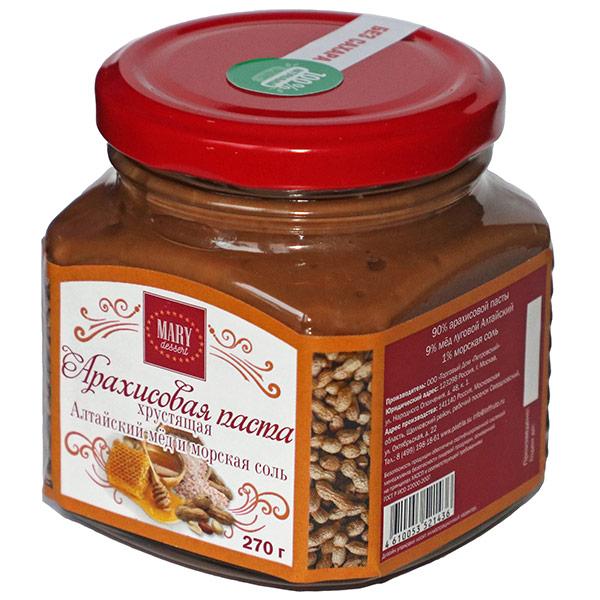 Паста арахисовая Mary Dessert хрустящая Алтайский мед и морская соль 270 гр