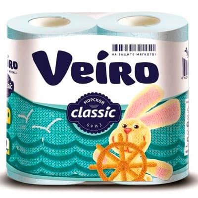 Туалетная Бумага Veiro Classic голубая 2 слоя (4 шт) фото