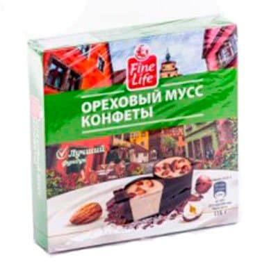 Конфеты Fine Food ореховый мусс 116гр