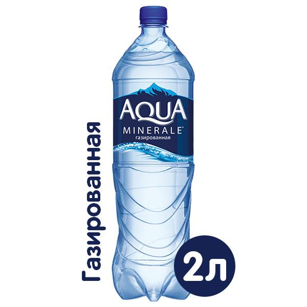 Вода Аква Минерале 2 литра, газ, пэт, 6 шт. в уп. фото
