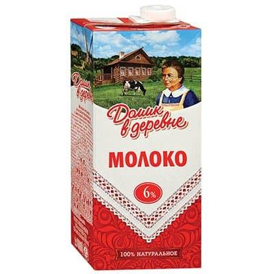 """Молоко """"Домик в деревне"""" 6% 950г (12шт.)"""
