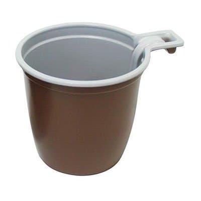 Чашка пластиковая коричневая с белым (50шт)