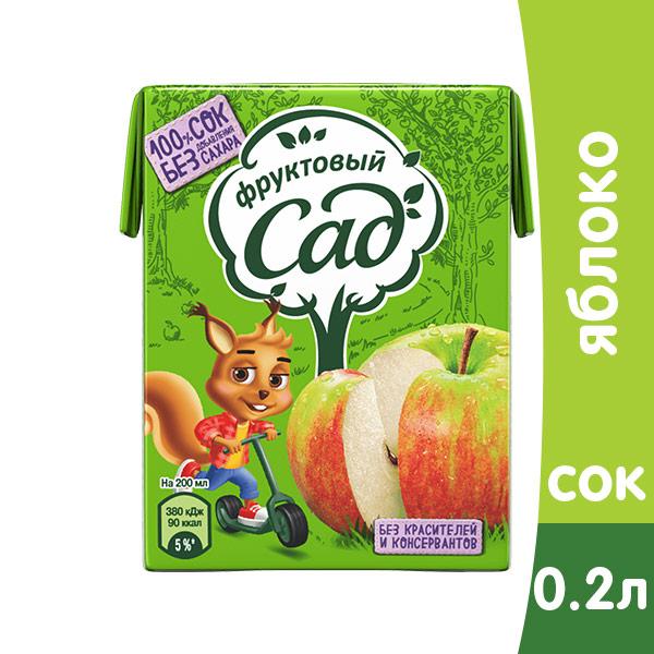 Сок Фруктовый сад яблоко 0.2 литра, 27 шт. в уп.