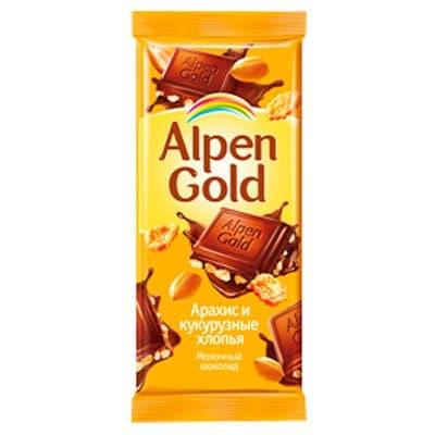Alpen gold соленый арахис и кукурузные хлопья 90г (5шт.)