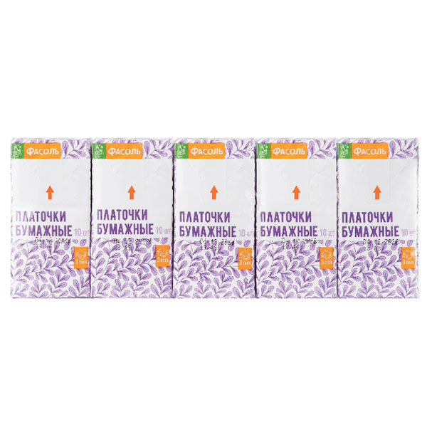 Носовые платочки Фасоль без аромата белые 3х-слойные (10х10 шт)