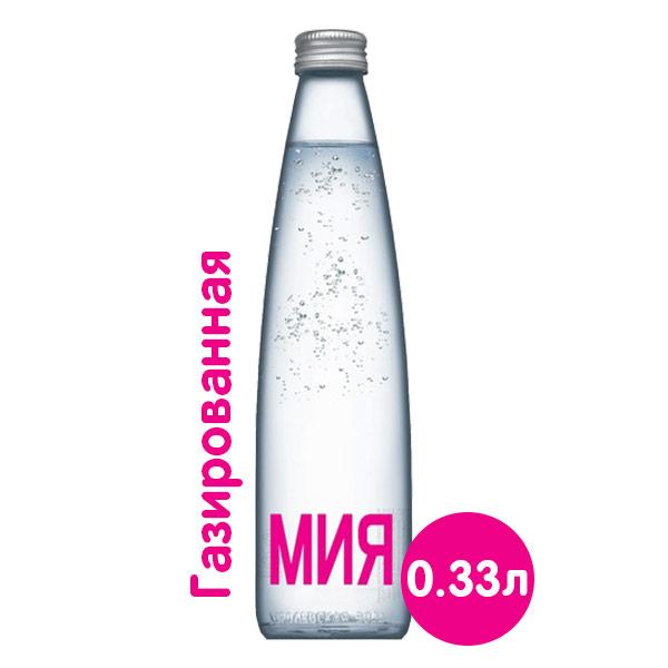 Купить со скидкой Вода Мия 0,33 литра, газ, стекло, 24 шт. в уп.