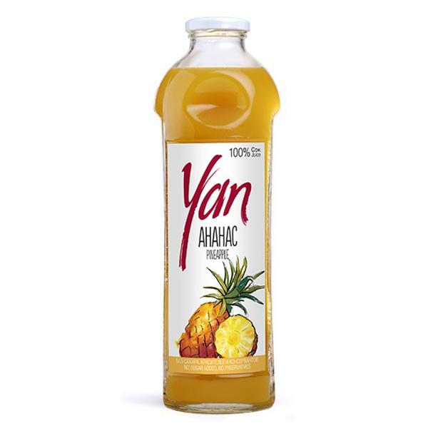 Сок YAN ананасовый 0.93 литра стекло 6 шт. в уп..