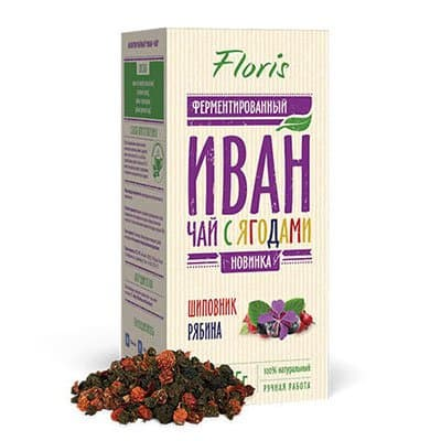 Иван-чай Floris ферментированный с ягодами Шиповник и Рябина 75гр