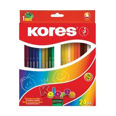 """Карандаши """"Kores"""" цветные 24 цвета с точилкой"""