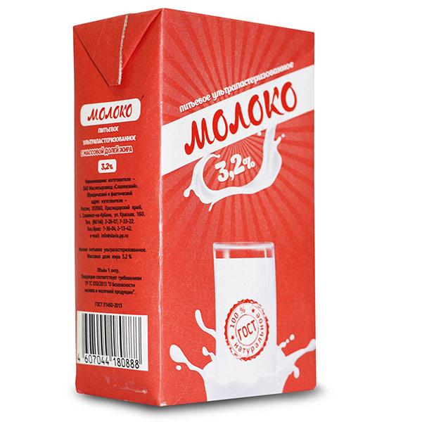 Молоко ОАО Славянский Ультрапастеризованное 3,2% БЗМЖ 1 литр 12 шт. в уп.
